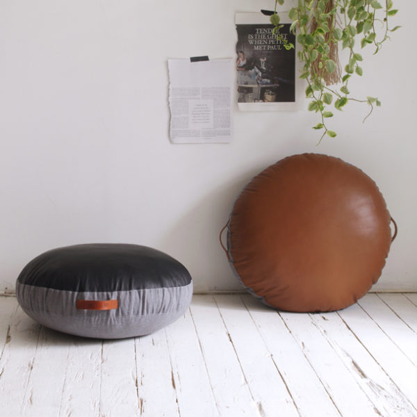 Leather Circular Floor Cushion Tan Amigos De Hoy
